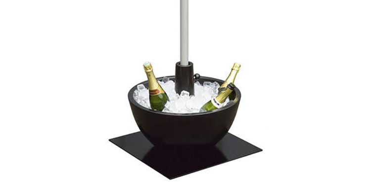 coupe parasol base, filled with ice and bottles of champagne