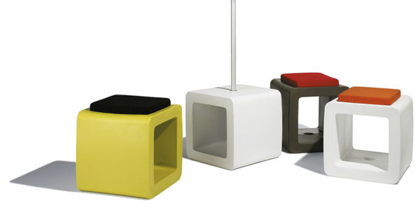 cube parasol base in various colours, with cushions in various colours