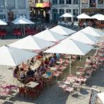 Acheter des parasols de restauration - exemple du Grand Marché de Bergen