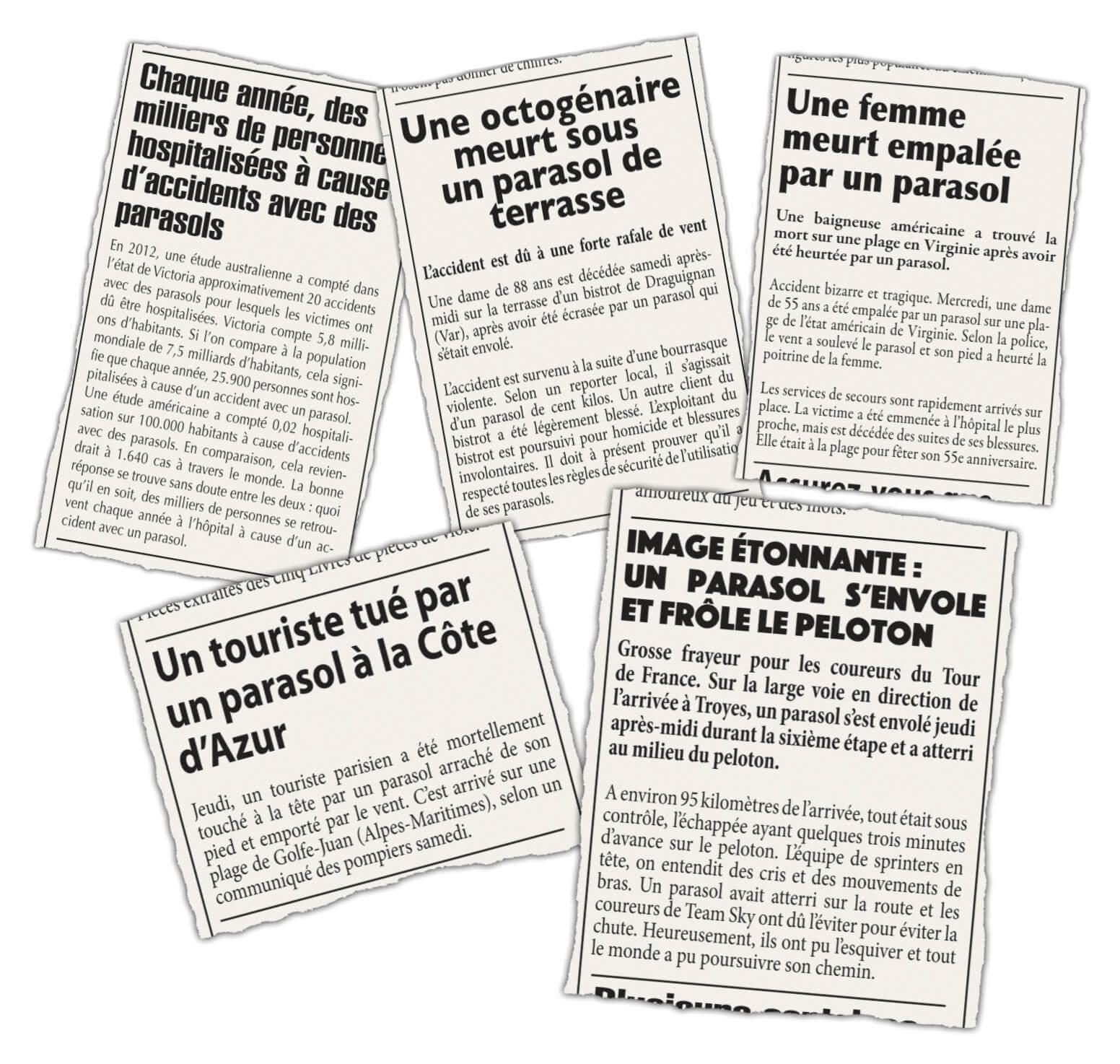 Krantenartikels over stromen en parasols